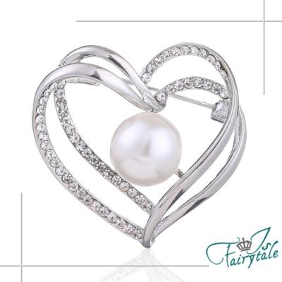 iSFairytale伊飾童話 包容的愛 珍珠愛心別針胸針 銀