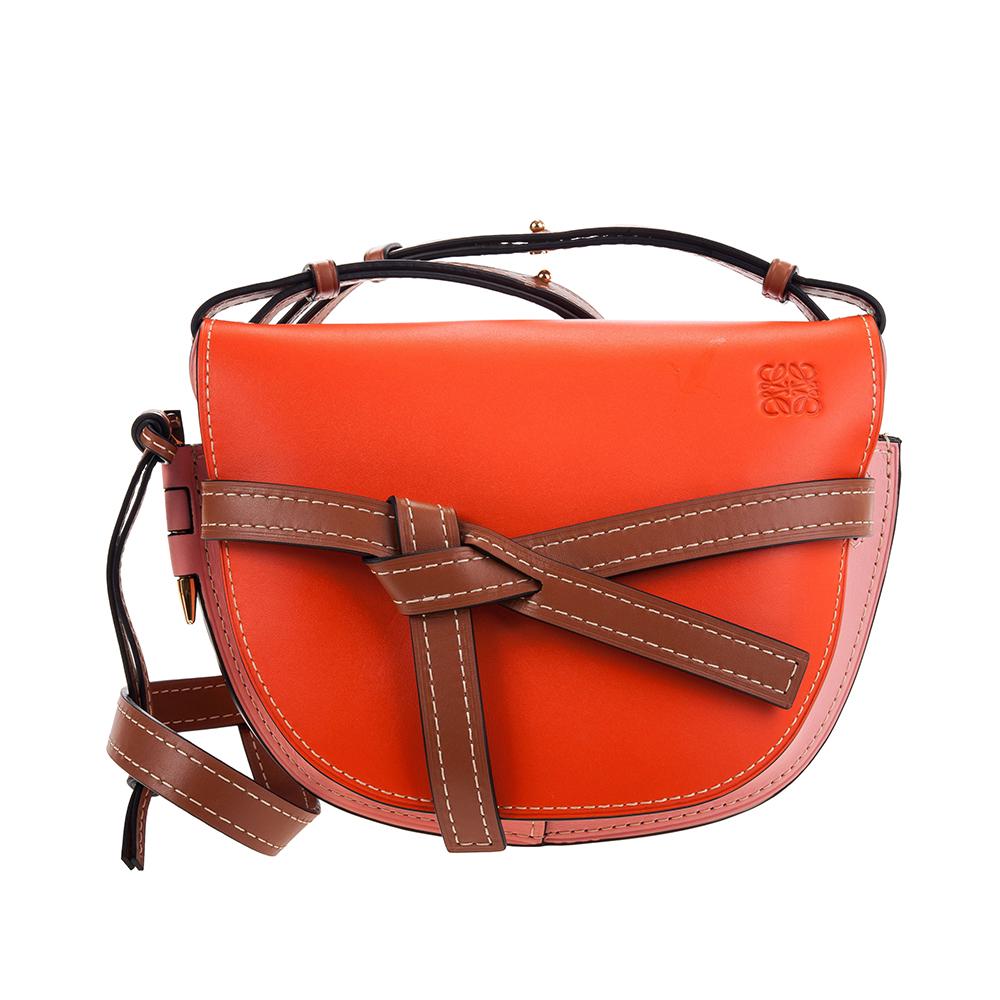 LOEWE 新款撞色Gate 牛皮小款斜背/肩背包 (橘色/粉紅/焦糖)