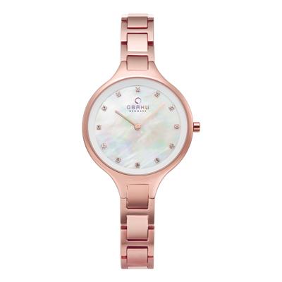 OBAKU 奢華水鑽珍珠母貝精緻腕錶-玫瑰金x白-V218LXVWSV