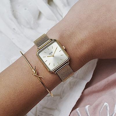 CLUSE La Tetragone 方框腕錶(金框/香檳金錶面/金色錶帶)28.5mm