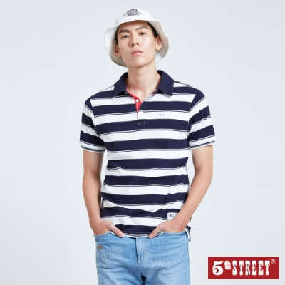 5th STREET 配色寬條紋 短袖POLO衫-男-黑藍