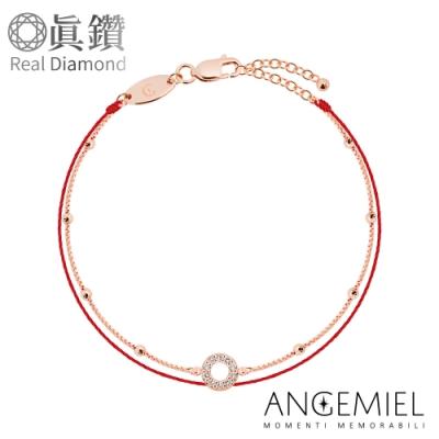 Angemiel 安婕米 鑽石幸運雙層紅繩銀鍊手鍊-圓舞曲(玫瑰金)(小圓球方型鍊款)
