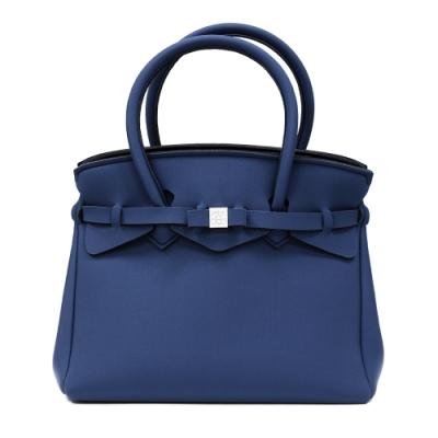 SAVE MY BAG 義大利品牌 MISS PLUS升級版 鯨藍色超輕量拉鍊手提托特包