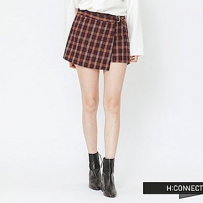 H:CONNECT 韓國品牌 女裝-格紋毛呢褲裙-紅