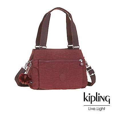 Kipling高雅酒紅梯形手提側背包