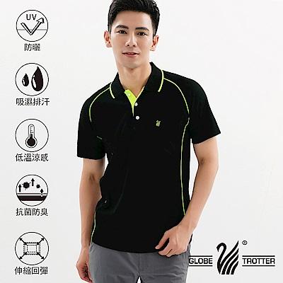 【遊遍天下】MIT台灣製男款吸濕排汗抗UV機能POLO衫S083黑色
