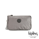 Kipling 低調質感金屬灰褐色三夾層配件包-CREATIVITY L