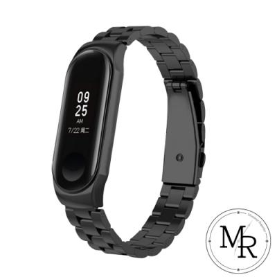 MR 小米手環3/4通用不鏽鋼三珠摺疊扣錶帶