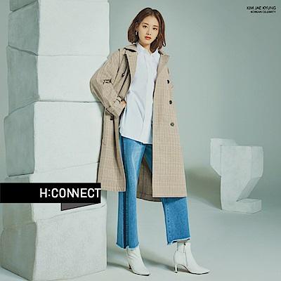H:CONNECT 韓國品牌 女裝-格紋雙排扣風衣外套-棕
