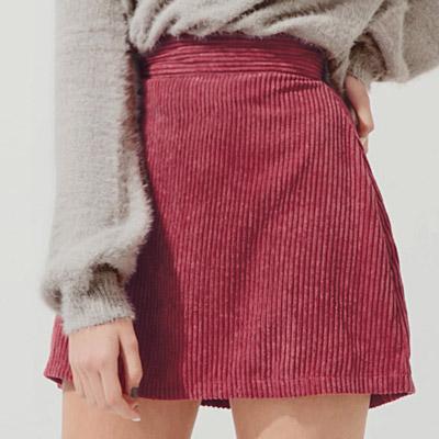 AIR SPACE 簡約直紋天鵝絨短裙(紅)