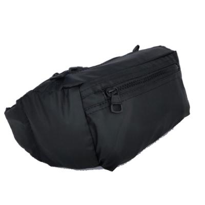 【Misstery】腰包熱壓PU面料休閒旅遊腰包-黑