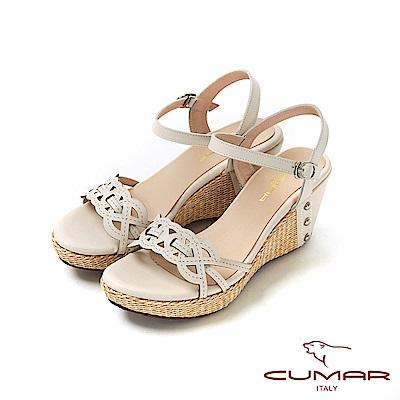 CUMAR普羅旺斯莊園- 獨特雷射編織鞋面楔型涼鞋-米白