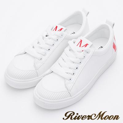 River&Moon休閒鞋- 韓版超激瘦厚底小白鞋-紅系