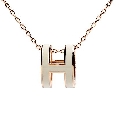 HERMES 經典Pop H立體簍空橢圓LOGO項鍊(金-白)