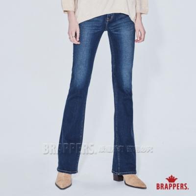 BRAPPERS 女款 新美腳 ROYAL系列-中腰彈性喇叭褲-深藍