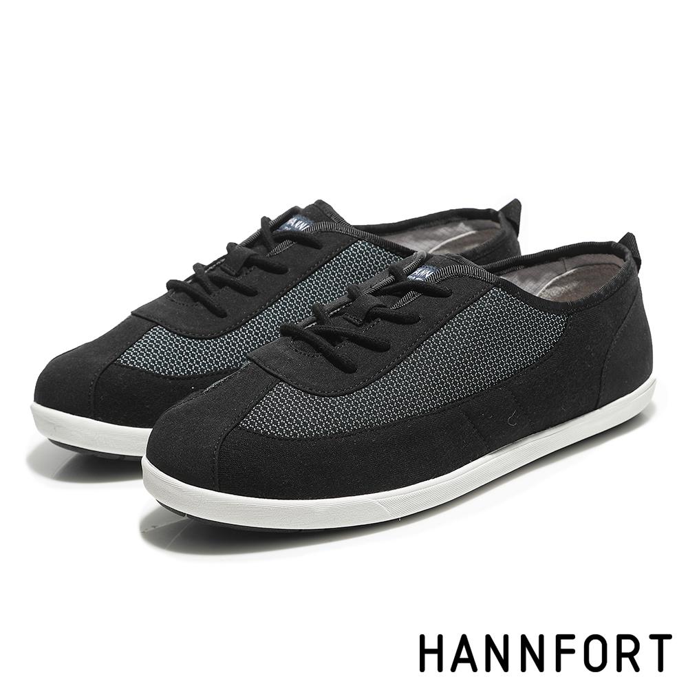 HANNFORT CALIFORNIA細緻網花純棉帆布鞋-女-風格黑