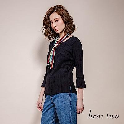 beartwo 彩色條紋領巾配素面摺皺七分袖上衣(3色)
