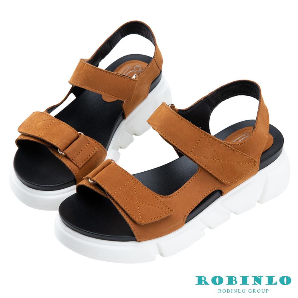 Robinlo 簡約百搭一字帶牛皮魔鬼氈涼拖鞋 棕色