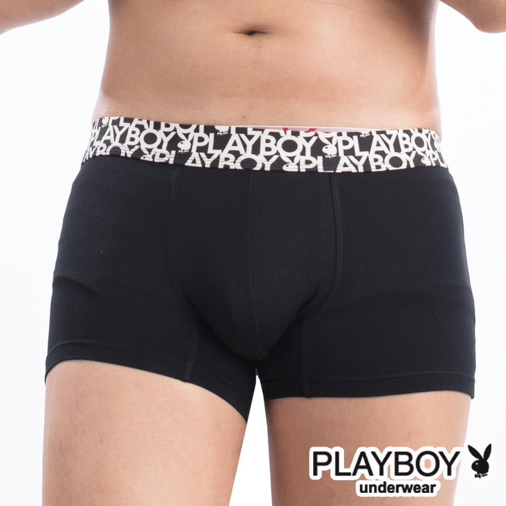 PLAYBOY 兔頭LOGO印花織帶柔纖合身四角褲平口褲-單件-黑