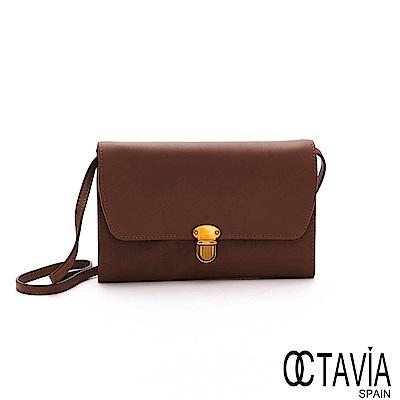 OCTAVIA 8 真皮  -  領頭羊  全羊皮壓扣式手拿皮夾肩斜三用包 - 驕傲棕