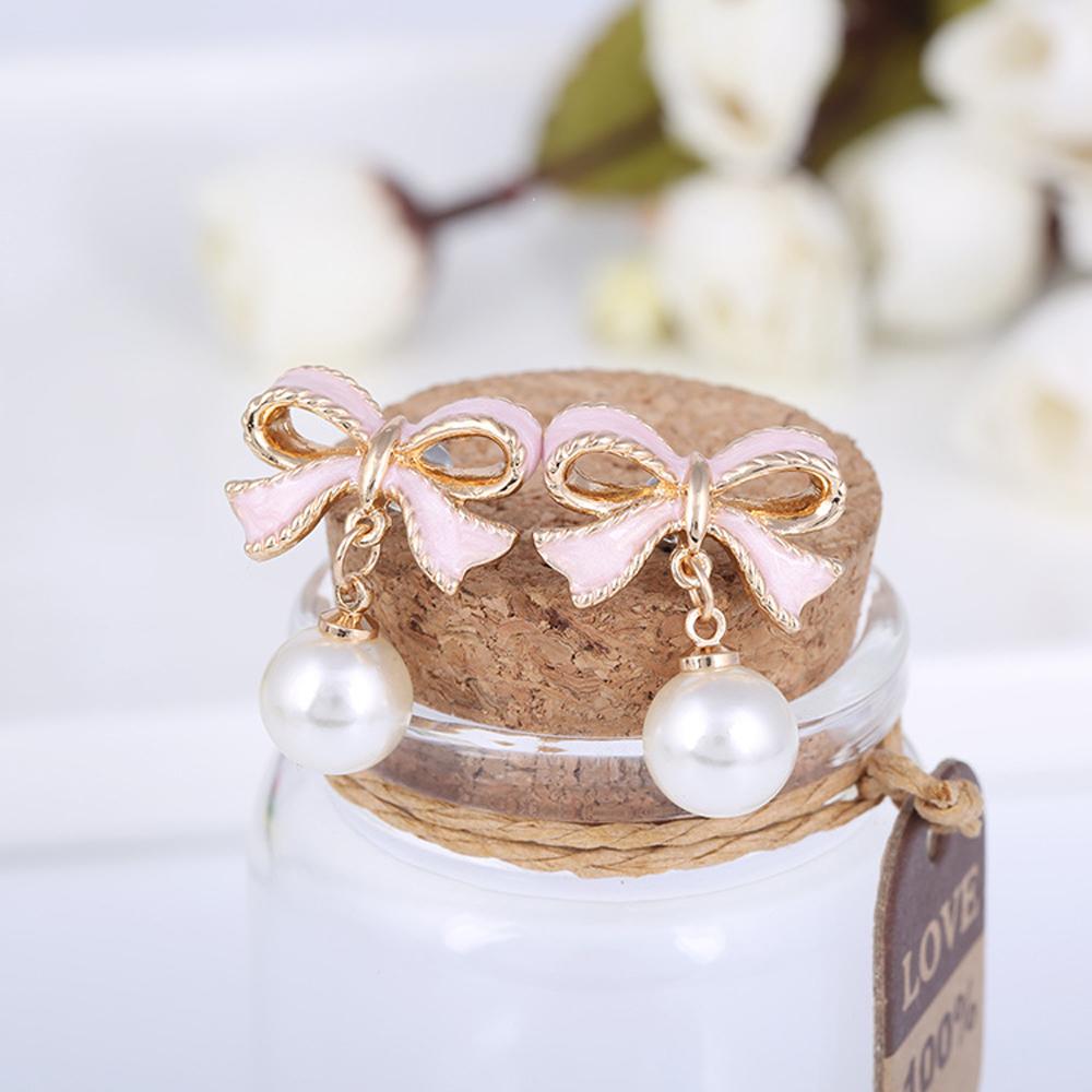 梨花HaNA 無耳洞唯美小女人禮物緞帶珍珠耳環夾式