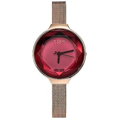 JULIUS聚利時 繽紛時代米蘭錶帶腕錶-寶石紅/30mm