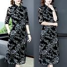 【韓國K.W.】(預購)韓時尚氣質印花復古洋裝-3色