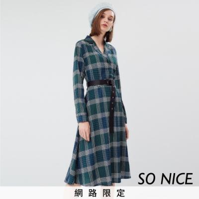 SO NICE優雅翻領格紋雪紡洋裝