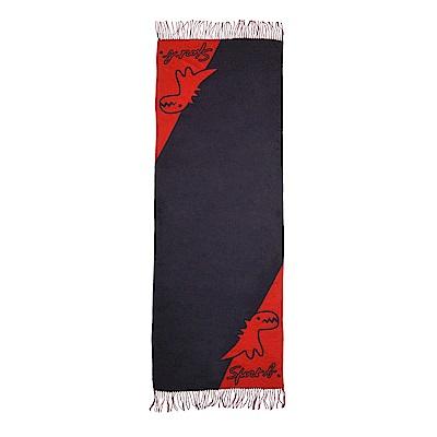 Sport b. 恐龍圖案雙色面圍巾