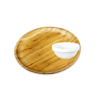 英國 WILMAX 圓形竹製托盤/輕食盤 28CM附醬料碟1入