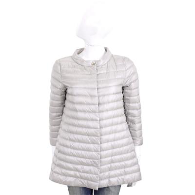 HERNO 香檳灰長版絎縫設計羽絨外套
