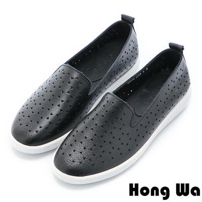 Hong Wa 日系幾何三角沖孔牛皮樂福鞋 - 黑