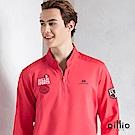 歐洲貴族 oillio 長袖T恤 螺紋立領 品牌刺繡 紅色