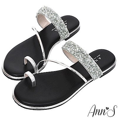 Ann'S女神光芒-鑽石糖碎石套拇指軟金屬平底寬版涼拖鞋-銀