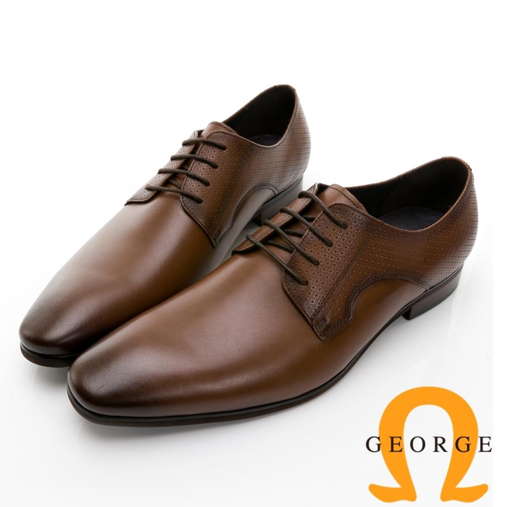 GEORGE 喬治皮鞋 經典系列 真皮素面後跟壓紋綁帶紳士鞋 -棕