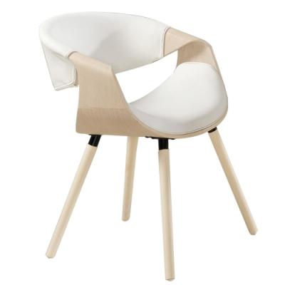 【AT HOME】現代輕工業風胡桃實木腳白皮餐椅(巴羅)
