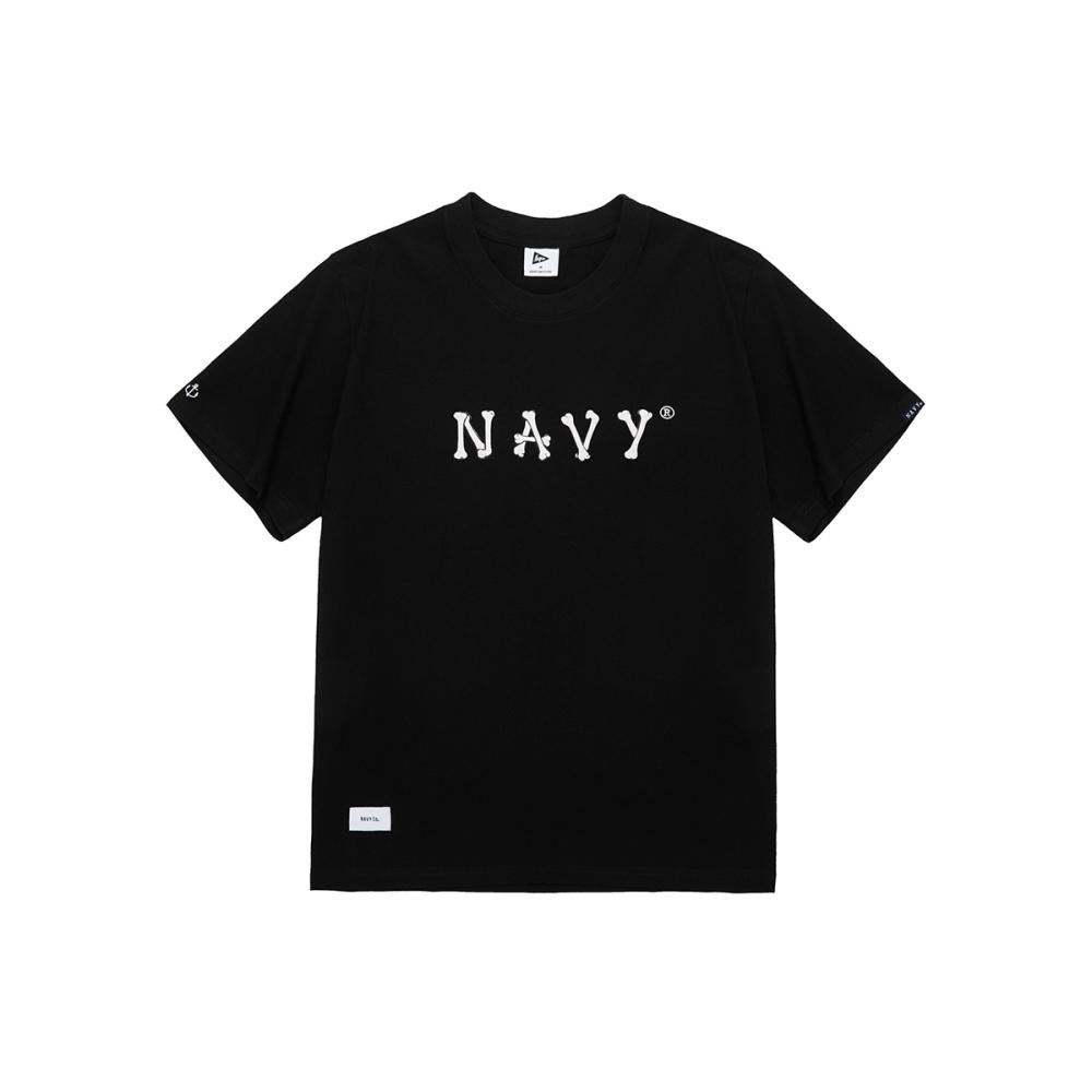 NAVY-品牌字體骨頭T(二色)-情侶款-男【WNA048】