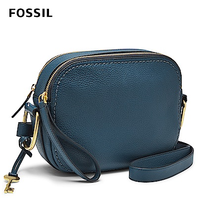 FOSSIL ELLE 簡約真皮斜背包-午夜藍 ZB7719497