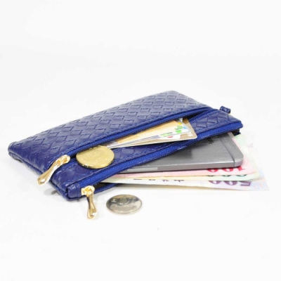 Miyo壓編織紋拉鍊手拿錢包(藍)