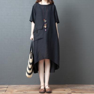 純黑圓領大口袋前短後長寬鬆洋裝M-2XL-Keer