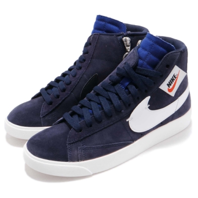 Nike 休閒鞋 Blazer Mid Rebel 女鞋 經典 穿搭 側邊拉鍊設計 高筒 簡約 藍 白 BQ4022401
