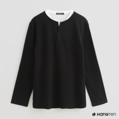 Hang Ten - 男裝 - 假兩件小開襟長袖上衣 - 黑