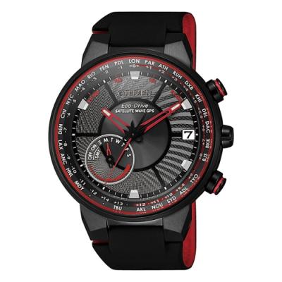 CITIZEN星辰 GPS衛星對時錶萬年曆后峰腕錶-紅44mm(CC3079-11E)