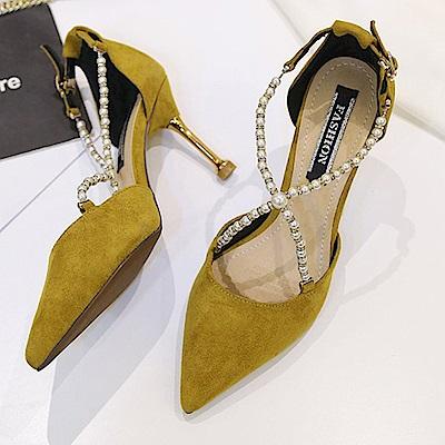 KEITH-WILL時尚鞋館 超有型春江串珠尖頭高跟鞋-黃色