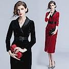 絲絨V領雙排扣繫帶包臀連身裙M-2XL(共二色)-M2M