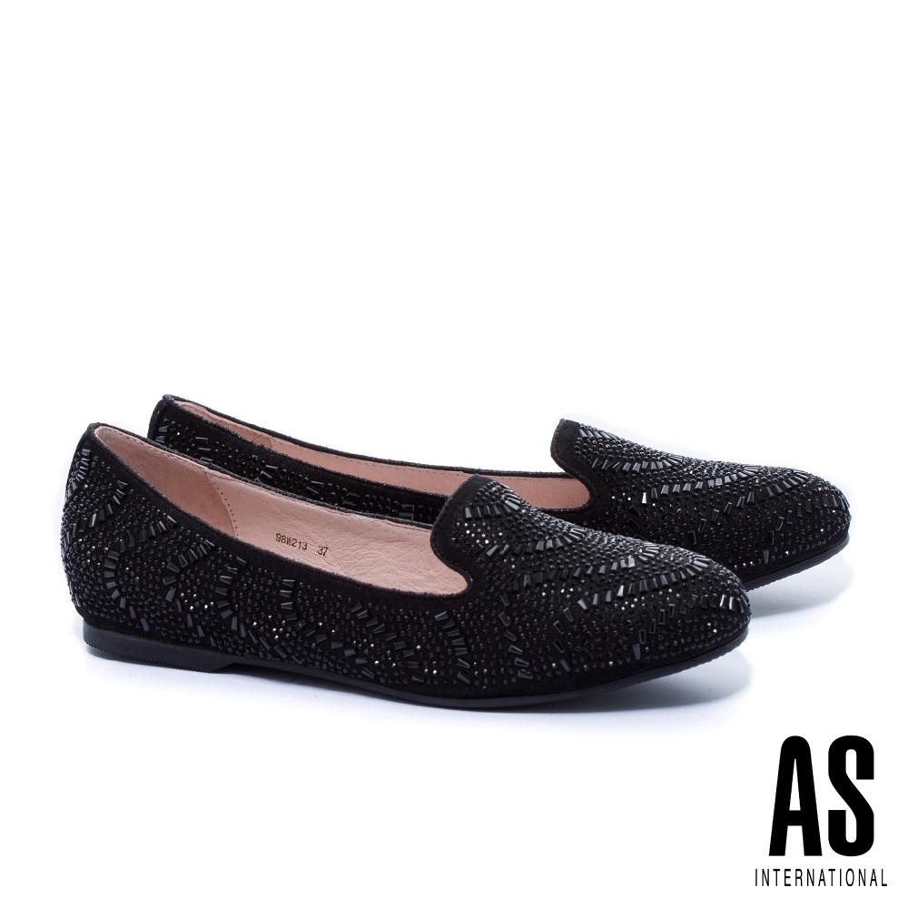 平底鞋 AS 排鑽造型羊麂皮樂福平底鞋-黑
