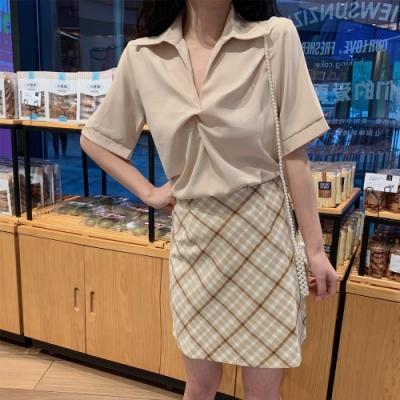 2F韓衣-簡約立領氣質抽褶短袖造型上衣-3色-(F)