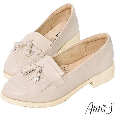 Ann'S私底下的穿搭-流蘇QQ軟底素面紳士鞋-米(版型偏小)