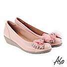 A.S.O 浪漫優雅 全真皮水鑽緞帶蝴蝶結低跟鞋 粉紅