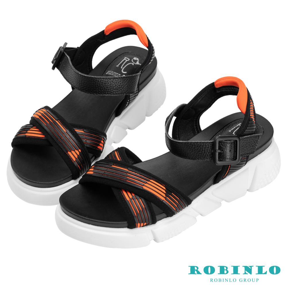 Robinlo 輕量動感撞色交叉織帶涼拖鞋 橘色